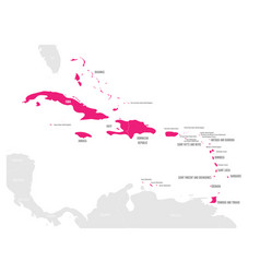 Political map of carribean pink highlighted vector