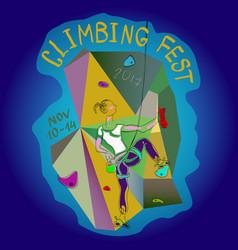 poster climbing wall festival vector image