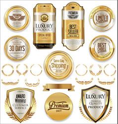 Retro vintage golden badges and labels collection vector