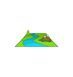 River avd mountains icon cartoon style vector image