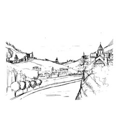rough draft of small georgian town street vector image