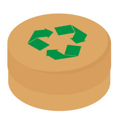 round cardboard box with green recycle symbol vector image