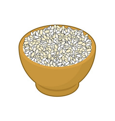 round rice in wooden bowl isolated groats in wood vector image