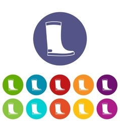 Rubber boots set icons vector image