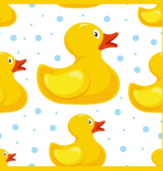 Rubber duck pattern bath children toy in water vector