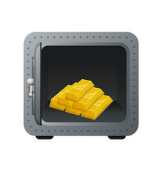 Safe box with gold bullion vector
