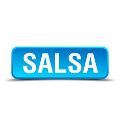 Salsa blue 3d realistic square isolated button vector image