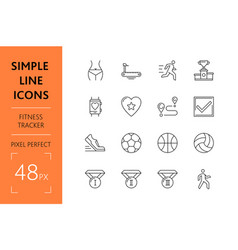 set fitness tracker simple lines icons sport vector image