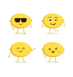 set lemon characters in different expressions vector image