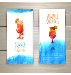 Set of blue watercolor summer banners with cocktai vector