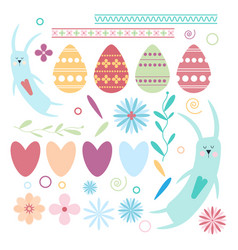 set of easter elements rabbits hearts eggs vector image