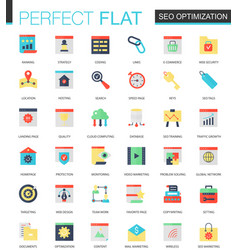 set of flat seo optimization icons vector image