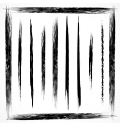 set of grunge line brush strokes vector image