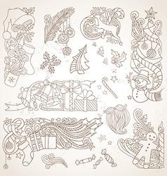 Set of sepia hand-drawn Christmas ornaments vector