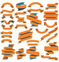 Set orange and blue flat ribbons vector