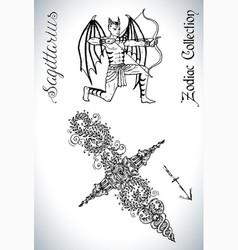 Set with sagittarius sign and mascot drawin vector