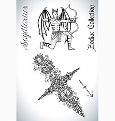 set with sagittarius zodiac sign and mascot drawin vector image