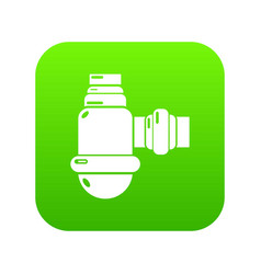 Sewage siphon icon green vector