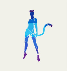 Silhouettes of cat woman vector