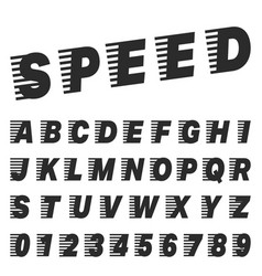 Speed alphabet font template set of letters vector