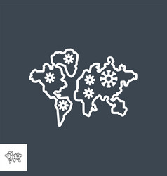 spreading world map related thin line icon vector image