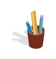 Stationery in brown cup icon isometric 3d style vector image
