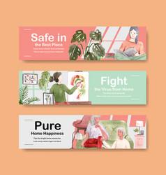 Stay at home banner concept with people character vector