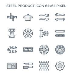 Steel metal icon vector