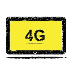 Tablet computer with 4G sketch design vector
