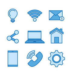 Technology collection social media online items vector