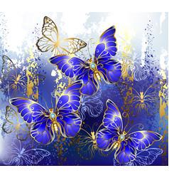 Three sapphire butterflies vector