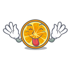 Tongue out orange mascot cartoon style vector