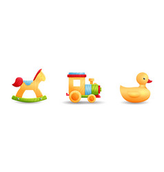 toys horse train rubber duck vector image