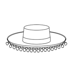 Traditional spanish hat icon in outline style vector