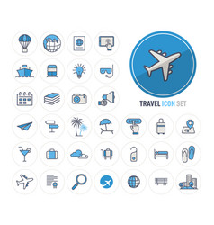 travel and tourism line icons set flat design vector image
