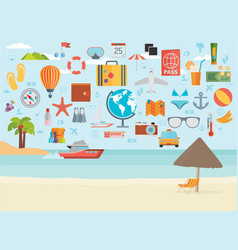 travel vacation flat design set concept vector image