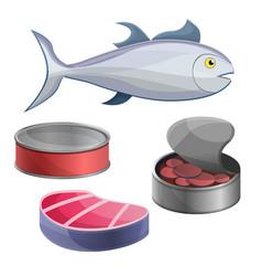 Tuna icon set cartoon style vector