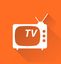 Tv icon in flat style isolated on orange vector