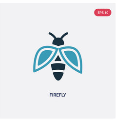 Two color firefly icon from summer concept vector