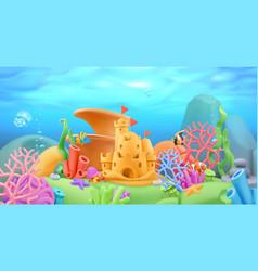 underwater world panorama landscape 3d cartoon vector image