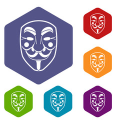 Vendetta mask icons set hexagon vector