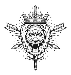 Vintage symbol of a lion head a crown vector