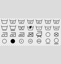 Washing symbols set line art style laundry vector