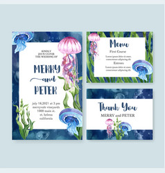 Wedding card watercolor design with beautiful vector