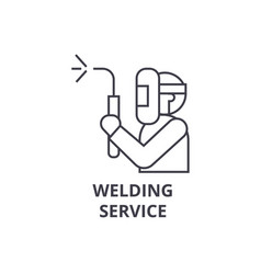 Welding service line icon sign vector