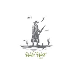 Wild west cowboy gun hat western vector