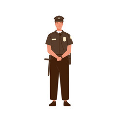 young handsome police officer or cop isolated on vector image