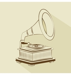 old gramophone drawing isolated icon design vector image
