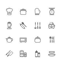 Set of Outline stroke Kitchenware icon vector image