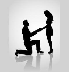 silhouette of a proposing man vector image